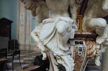 Basilica di San Martino Vescovo Dettaglio dei telamoni del pulpito dei Fantoni e dei Caniana Alzano Lombardo