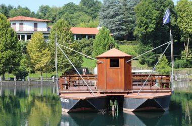 il traghetto di Leonardo visto dalla sponda di Villa d'Adda